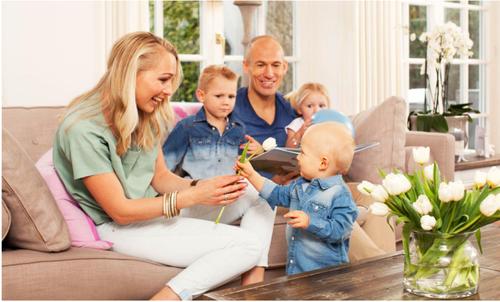 Family photo of the football player, married to Bernadien Eillert, famous for  Groningen  &  PSV.
